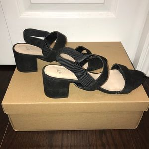 H&M Black Suede Heeled Sandals